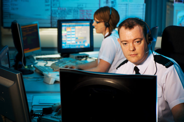 police officers in control room