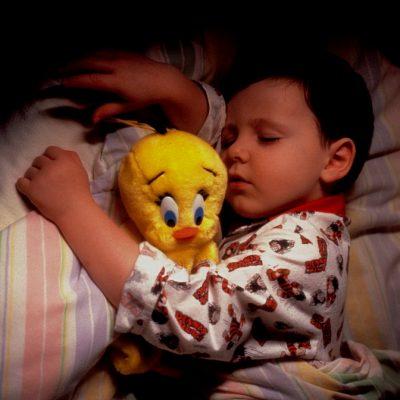boy asleep with tweetypie toy
