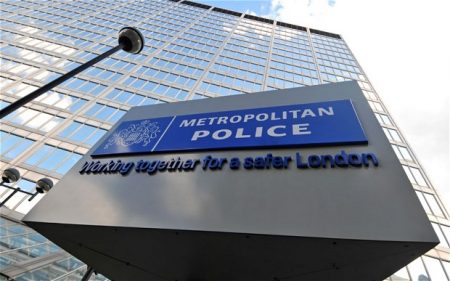 Metropolitan Police sign at New Scotland Yard