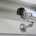 CCTV bullet camera on wall
