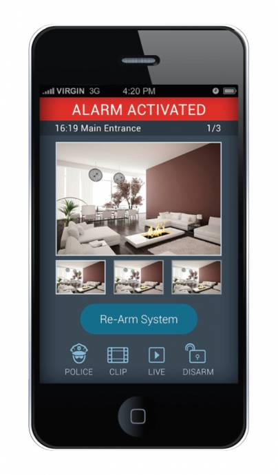Agility smartphone app, alarm activated
