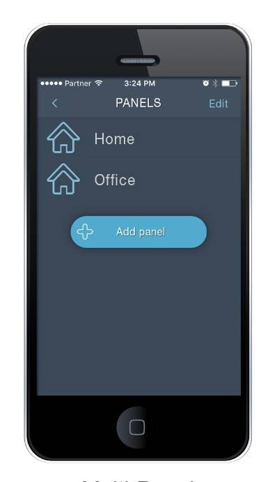Agility 3 smartphone app showing home and office security systems