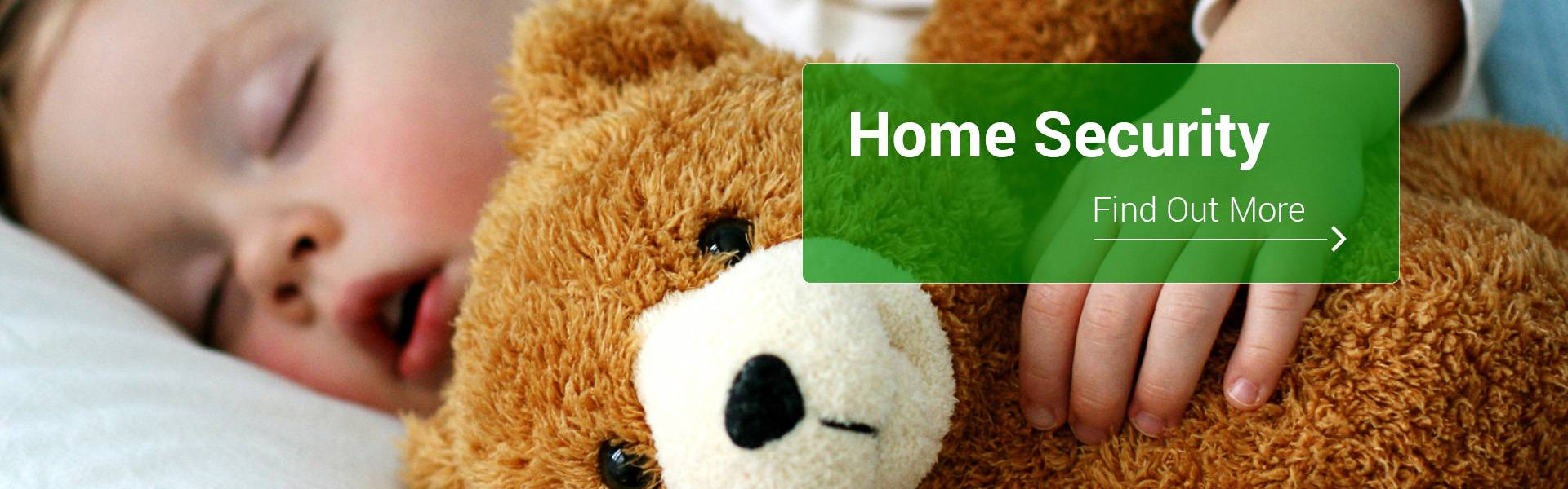 Home Security, child asleep with cuddly toy